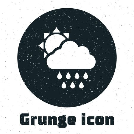 Grunge Cloud with rain and sun icon isolated on white background. Rain cloud precipitation with rain drops. Vector Illustration Illustration
