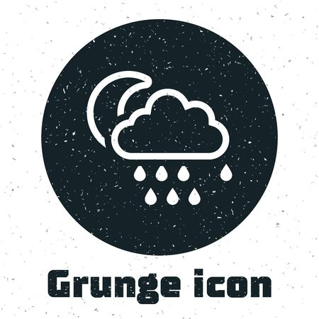 Grunge Cloud with rain and moon icon isolated on white background. Rain cloud precipitation with rain drops. Vector Illustration Illustration