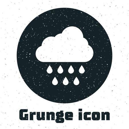 Grunge Cloud with rain icon isolated on white background. Rain cloud precipitation with rain drops. Vector Illustration Illustration