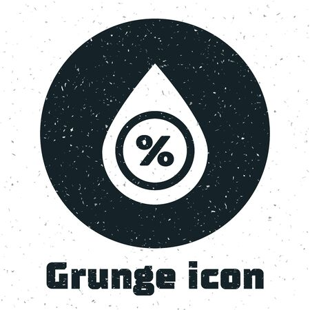 Grunge Water drop percentage icon isolated on white background. Humidity analysis. Vector Illustration