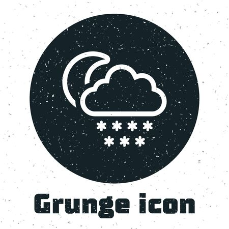 Grunge Cloud with snow and moon icon isolated on white background. Cloud with snowflakes. Single weather icon. Snowing sign. Vector Illustration