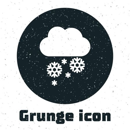 Grunge Cloud with snow icon isolated on white background. Cloud with snowflakes. Single weather icon. Snowing sign. Vector Illustration