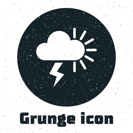 Grunge Storm icon isolated on white background. Cloudy with lightning and sun sign. Weather icon of storm. Vector Illustration Illustration