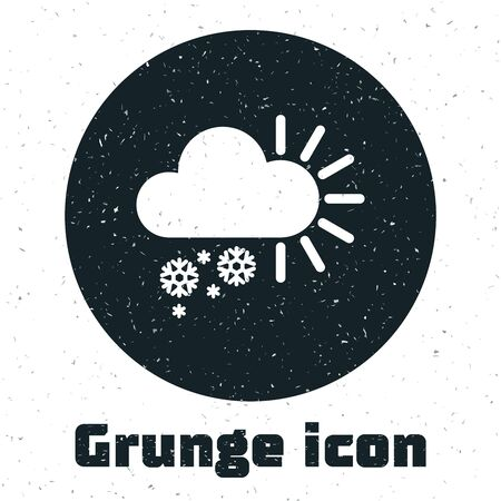 Grunge Cloudy with snow icon isolated on white background. Cloud with snowflakes. Single weather icon. Snowing sign. Vector Illustration Illustration