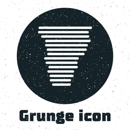Grunge Tornado icon isolated on white background. Cyclone, whirlwind, storm funnel, hurricane wind or twister weather icon. Vector Illustration