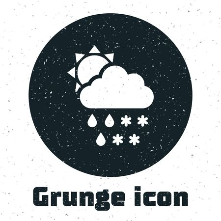 Grunge Cloud with snow and rain icon isolated on white background. Weather icon. Vector Illustration Illustration
