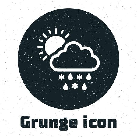 Grunge Cloud with snow, rain and sun icon isolated on white background. Weather icon. Vector Illustration
