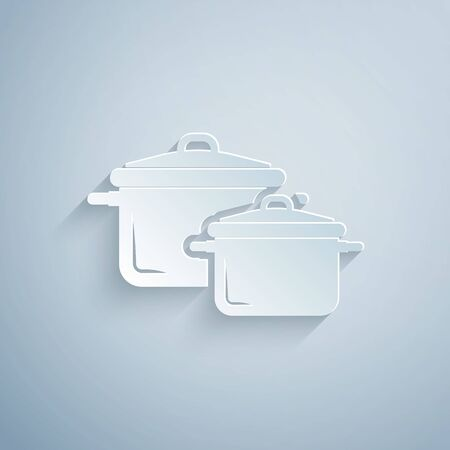 Paper cut Cooking pot icon isolated on grey background. Boil or stew food symbol. Paper art style. Vector Illustration