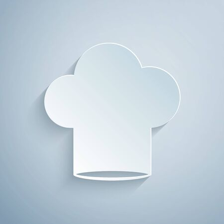 Paper cut Chef hat icon isolated on grey background. Cooking symbol. Cooks hat. Paper art style. Vector Illustration Stock Illustratie