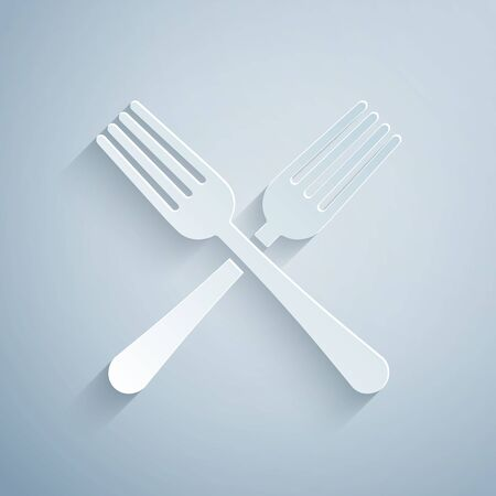 Paper cut Crossed fork icon isolated on grey background. Cutlery symbol. Paper art style. Vector Illustration