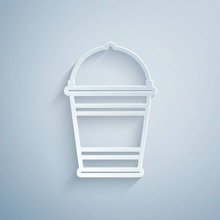 Paper cut Bucket icon isolated on grey background. Paper art style. Vector Illustration