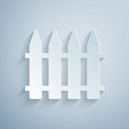 Paper cut Garden fence wooden icon isolated on grey background. Paper art style. Vector Illustration