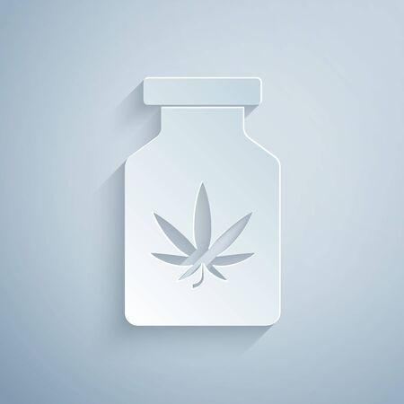 Paper cut Medical bottle with marijuana or cannabis leaf icon isolated on grey background. Mock up of cannabis oil extracts in jars. Paper art style. Vector Illustration Stockfoto - 131183811