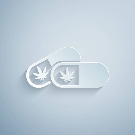 Paper cut Medical pills with marijuana or cannabis leaf icon isolated on grey background. Mock up of cannabis oil extracts in jars. Paper art style. Vector Illustration
