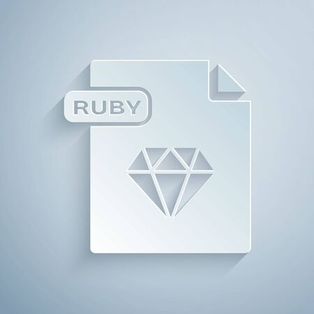 Paper cut RUBY file document. Download ruby button icon isolated on grey background. RUBY file symbol. Paper art style. Vector Illustration