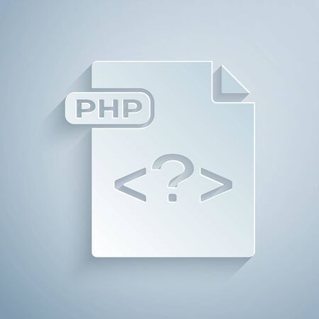 Paper cut PHP file document. Download php button icon isolated on grey background. PHP file symbol. Paper art style. Vector Illustration Ilustrace