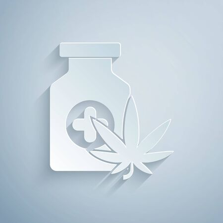 Paper cut Medical bottle with marijuana or cannabis leaf icon isolated on grey background. Mock up of cannabis oil extracts in jars. Paper art style. Vector Illustration