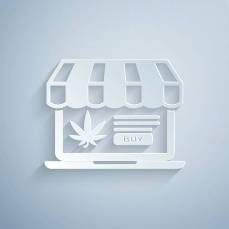 Paper cut Laptop and medical marijuana or cannabis leaf icon isolated on grey background. Online buying symbol. Supermarket basket. Paper art style. Vector Illustration Illustration
