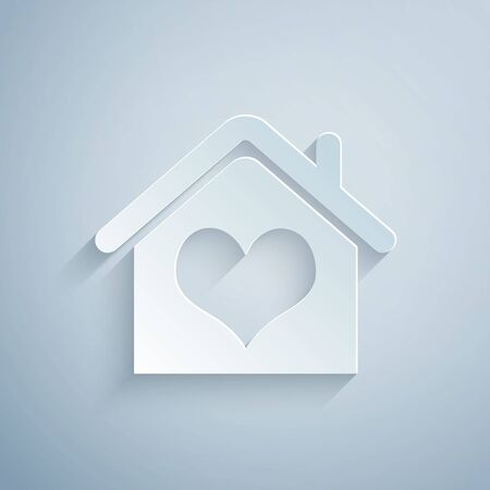 Paper cut House with heart shape icon isolated on grey background. Love home symbol. Family, real estate and realty. Paper art style. Vector Illustration Vettoriali