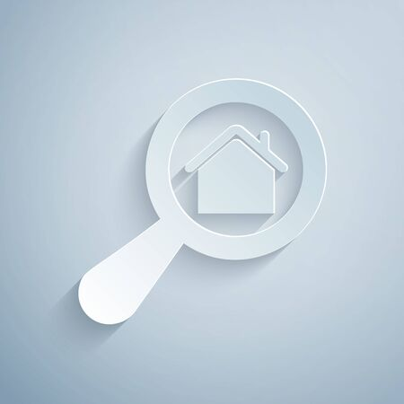 Paper cut Search house icon isolated on grey background. Real estate symbol of a house under magnifying glass. Paper art style. Vector Illustration Vectores