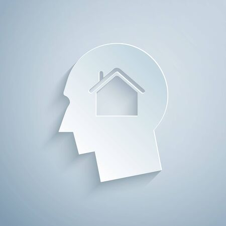 Paper cut Man dreaming about buying a new house icon isolated on grey background. Paper art style. Vector Illustration