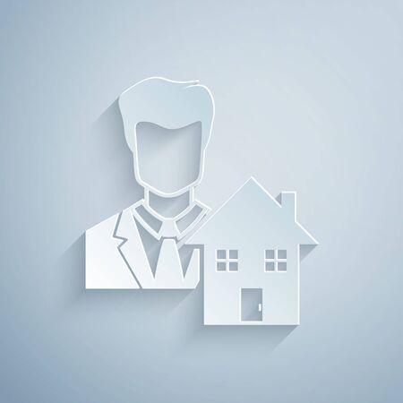 Paper cut Realtor icon isolated on grey background. Buying house. Paper art style. Vector Illustration