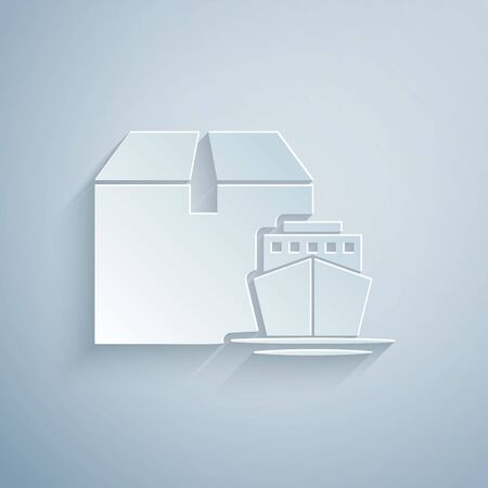 Paper cut Cargo ship with boxes delivery service icon isolated on grey background. Delivery, transportation. Freighter with parcels, boxes, goods. Paper art style. Vector Illustration