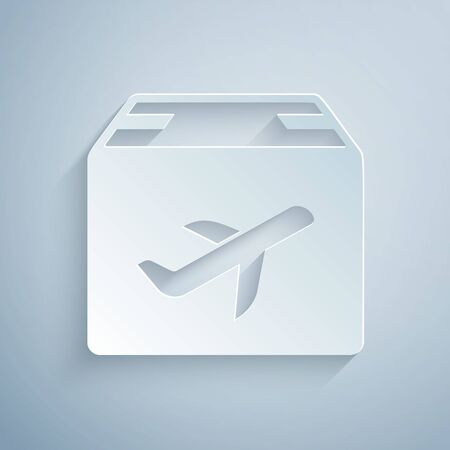 Paper cut Plane and cardboard box icon isolated on grey background. Delivery, transportation. Cargo delivery by air. Airplane with parcels, boxes. Paper art style. Vector Illustration
