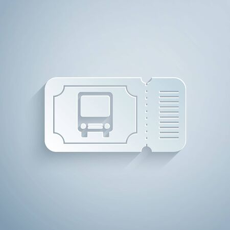 Paper cut Bus ticket icon isolated on grey background. Public transport ticket. Paper art style. Vector Illustration Ilustração