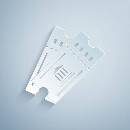 Paper cut Museum ticket icon isolated on grey background. History museum ticket coupon event admit exhibition excursion. Paper art style. Vector Illustration