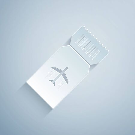 Paper cut Airline ticket icon isolated on grey background. Plane ticket. Paper art style. Vector Illustration