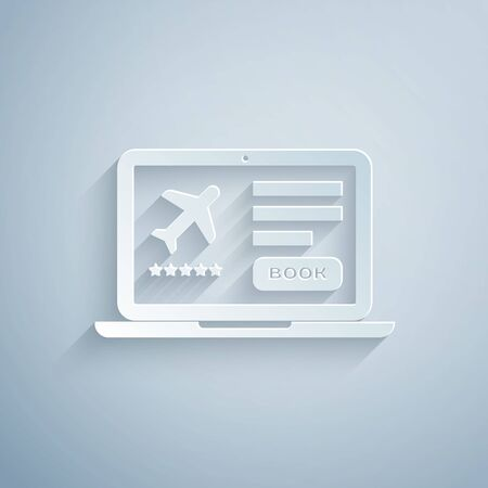 Paper cut Laptop with electronic boarding pass airline ticket icon isolated on grey background. Passenger plane mobile ticket for web and app. Paper art style. Vector Illustration