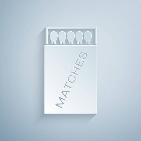 Paper cut Open matchbox and matches icon isolated on grey background. Paper art style. Vector Illustration