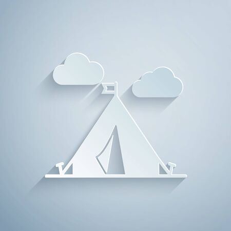Paper cut Tourist tent with flag icon isolated on grey background. Camping symbol. Paper art style. Vector Illustration Stok Fotoğraf - 131060565