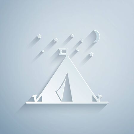 Paper cut Tourist tent with flag icon isolated on grey background. Camping symbol. Paper art style. Vector Illustration Stok Fotoğraf - 131060562