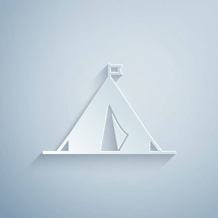 Paper cut Tourist tent with flag icon isolated on grey background. Camping symbol. Paper art style. Vector Illustration Stok Fotoğraf - 131060569