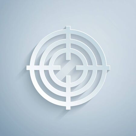 Paper cut Target sport for shooting competition icon isolated on grey background. Clean target with numbers for shooting range or shooting. Paper art style. Vector Illustration Banque d'images - 131060579