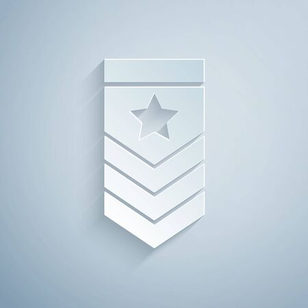 Paper cut Chevron icon isolated on grey background. Military badge sign. Paper art style. Vector Illustration Illustration