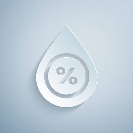 Paper cut Water drop percentage icon isolated on grey background. Humidity analysis. Paper art style. Vector Illustration
