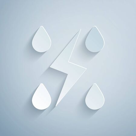 Paper cut Storm icon isolated on grey background. Drop and lightning sign. Weather icon of storm. Paper art style. Vector Illustration Vectores
