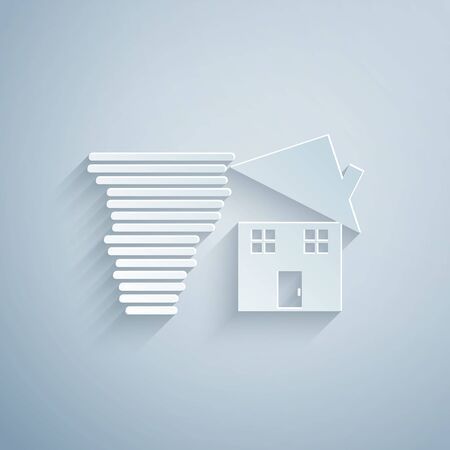 Paper cut Tornado swirl damages house roof icon isolated on grey background. Cyclone, whirlwind, storm funnel, hurricane wind icon. Paper art style. Vector Illustration  イラスト・ベクター素材