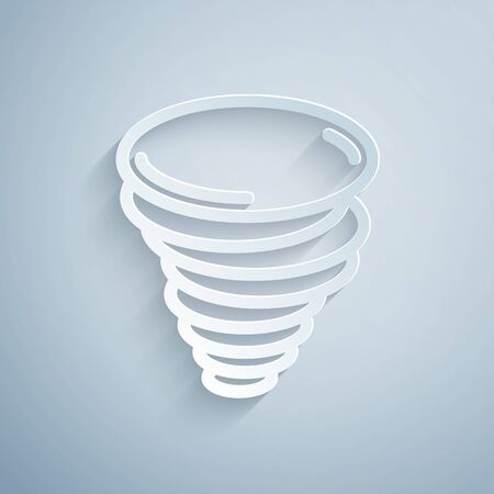 Paper cut Tornado icon isolated on grey background. Cyclone, whirlwind, storm funnel, hurricane wind or twister weather icon. Paper art style. Vector Illustration
