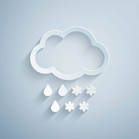 Paper cut Cloud with snow and rain icon isolated on grey background. Weather icon. Paper art style. Vector Illustration