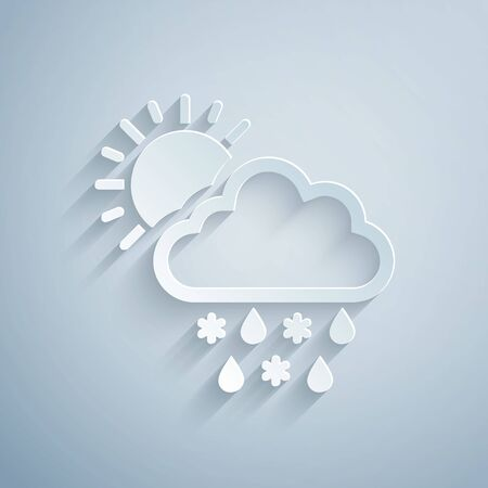 Paper cut Cloud with snow, rain and sun icon isolated on grey background. Weather icon. Paper art style. Vector Illustration Illustration
