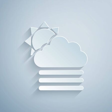 Paper cut Fog and cloud with sun icon isolated on grey background. Paper art style. Vector Illustration