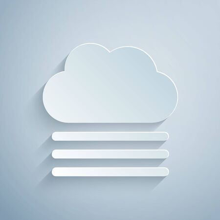 Paper cut Fog and cloud icon isolated on grey background. Paper art style. Vector Illustration