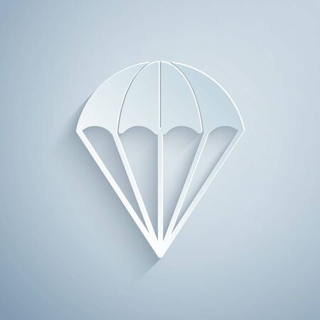 Paper cut Parachute icon isolated on grey background. Paper art style. Vector Illustration Banque d'images - 131061211