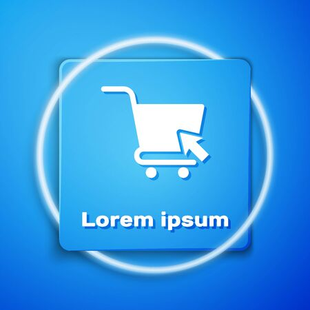 White Shopping cart with cursor icon isolated on blue background. Online buying concept. Delivery service sign. Supermarket basket symbol. Blue square button. Vector Illustration Illustration