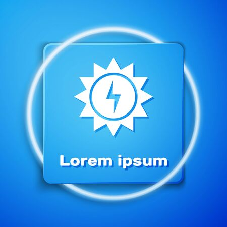 White Solar energy panel icon isolated on blue background. Sun with lightning symbol. Blue square button. Vector Illustration  イラスト・ベクター素材