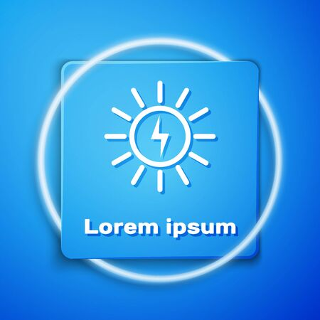 White Solar energy panel line icon isolated on blue background. Blue square button. Vector Illustration